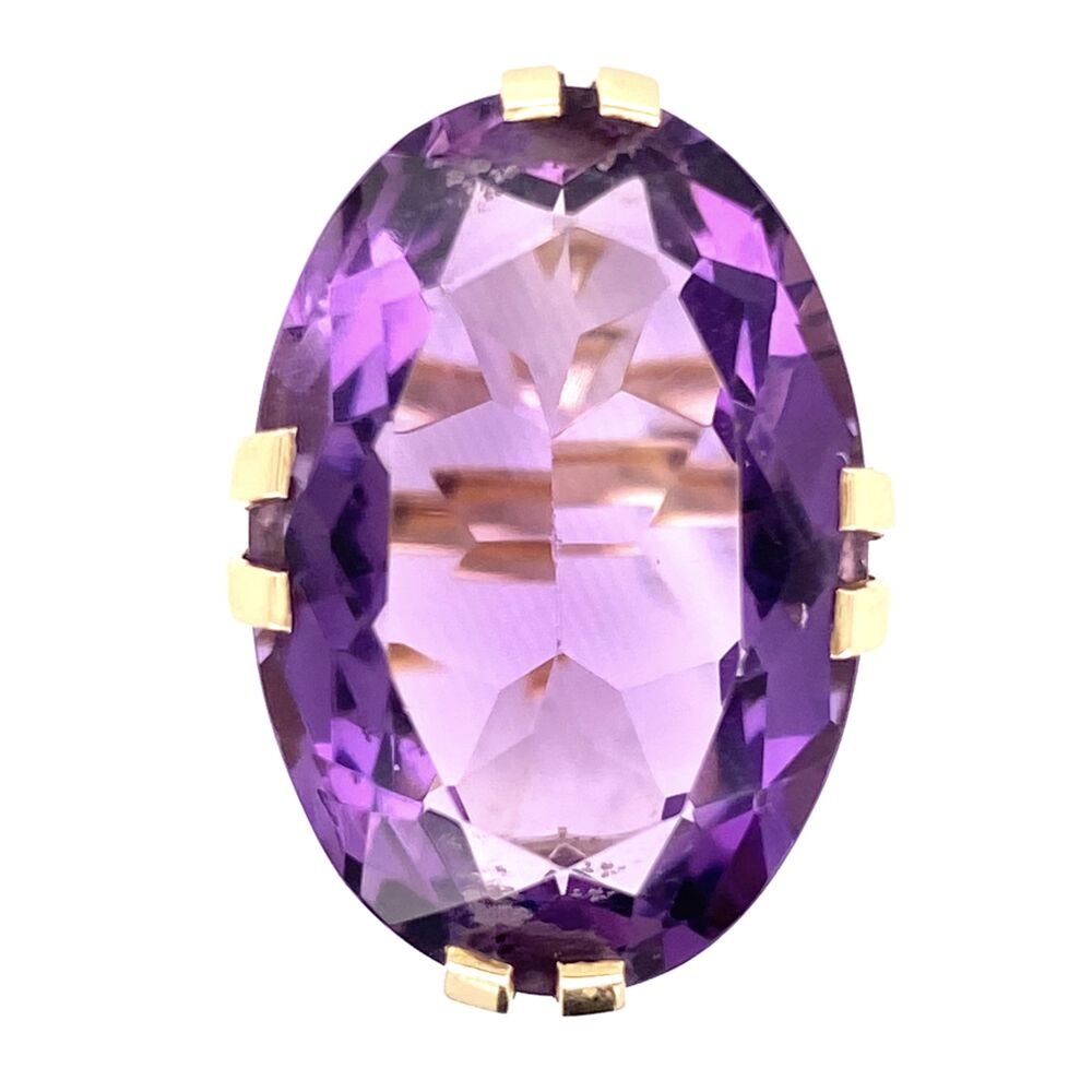 14K Yellow Gold 20ct Oval Amethyst Split Prong Soliatire 10.3g, s6.5