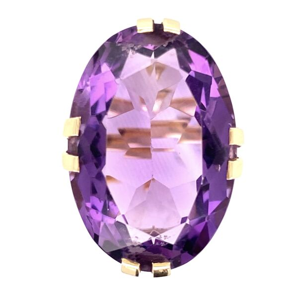 Closeup photo of 14K Yellow Gold 20ct Oval Amethyst Split Prong Soliatire 10.3g, s6.5
