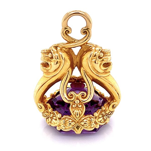 Closeup photo of 14K Yellow Gold Intaglio Amethyst Pendant Amulet 18ct 18.2g