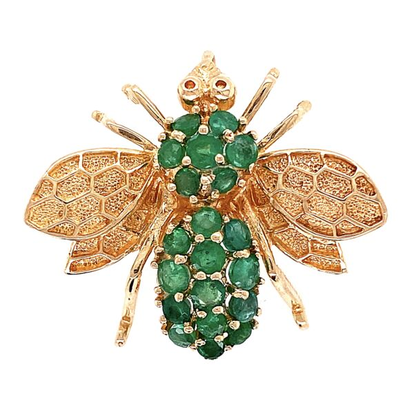 Closeup photo of 14K Yellow Gold ROZENTAL Bee Brooch w/ Emeralds 6.4g, 1""