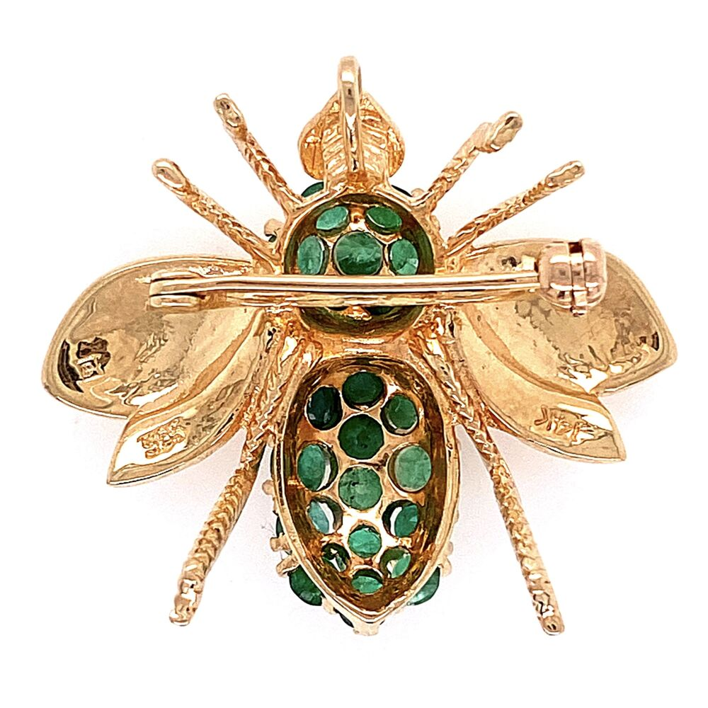 """Image 2 for 14K Yellow Gold ROZENTAL Bee Brooch w/ Emeralds 6.4g, 1"""""""