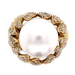 Closeup photo of 18K Yellow Gold Bombay South Sea Pearl Ring 16.5, 2.50tcw Diamonds