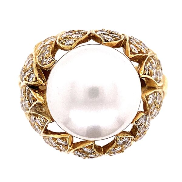 Closeup photo of 18K Yellow Gold Bombay South Sea Pearl Ring 16.5, 2.50tcw Diamonds