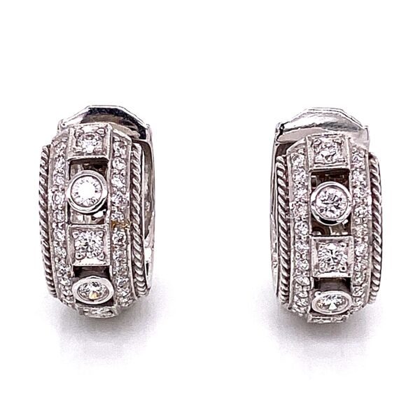 Closeup photo of 18K White Gold White .65tcw Diamond Huggie Earrings PENNY PREVILLE 8.5g