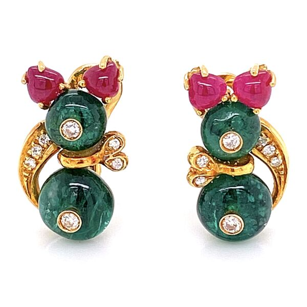Closeup photo of 18K Yellow Gold GIOVANE Minnie Mouse Ruby, Emerald, Diamond Earrings