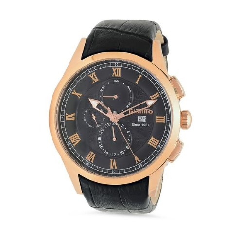 Image 2 for Giantto Mens Stainless steel case rose gold IP Classic Watch