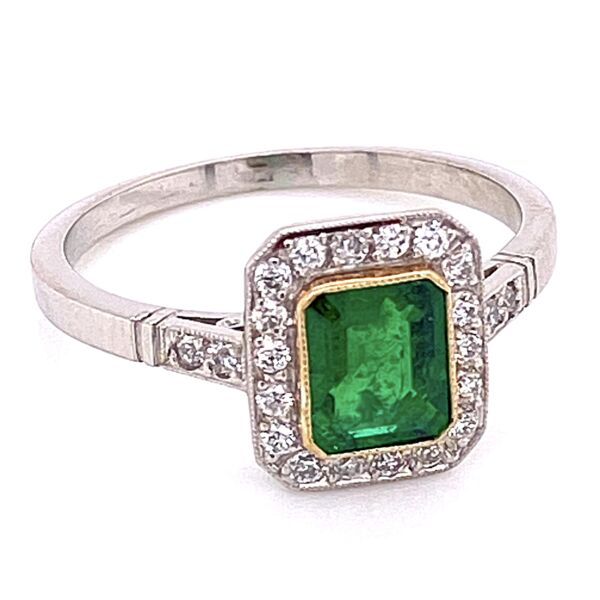 Closeup photo of Platinum Emerald & Diamond Ring