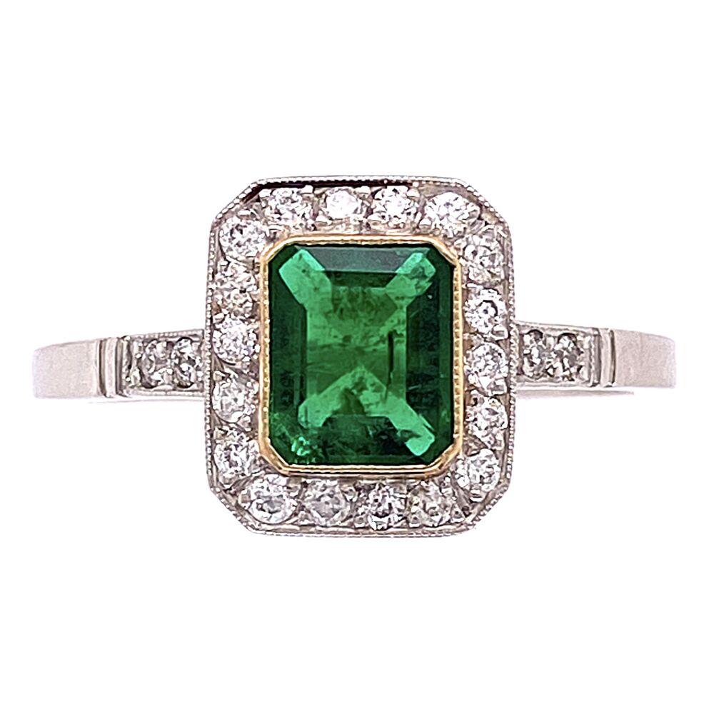 Platinum 1ct Emerald & .24tcw Diamonds 3.7g, s7