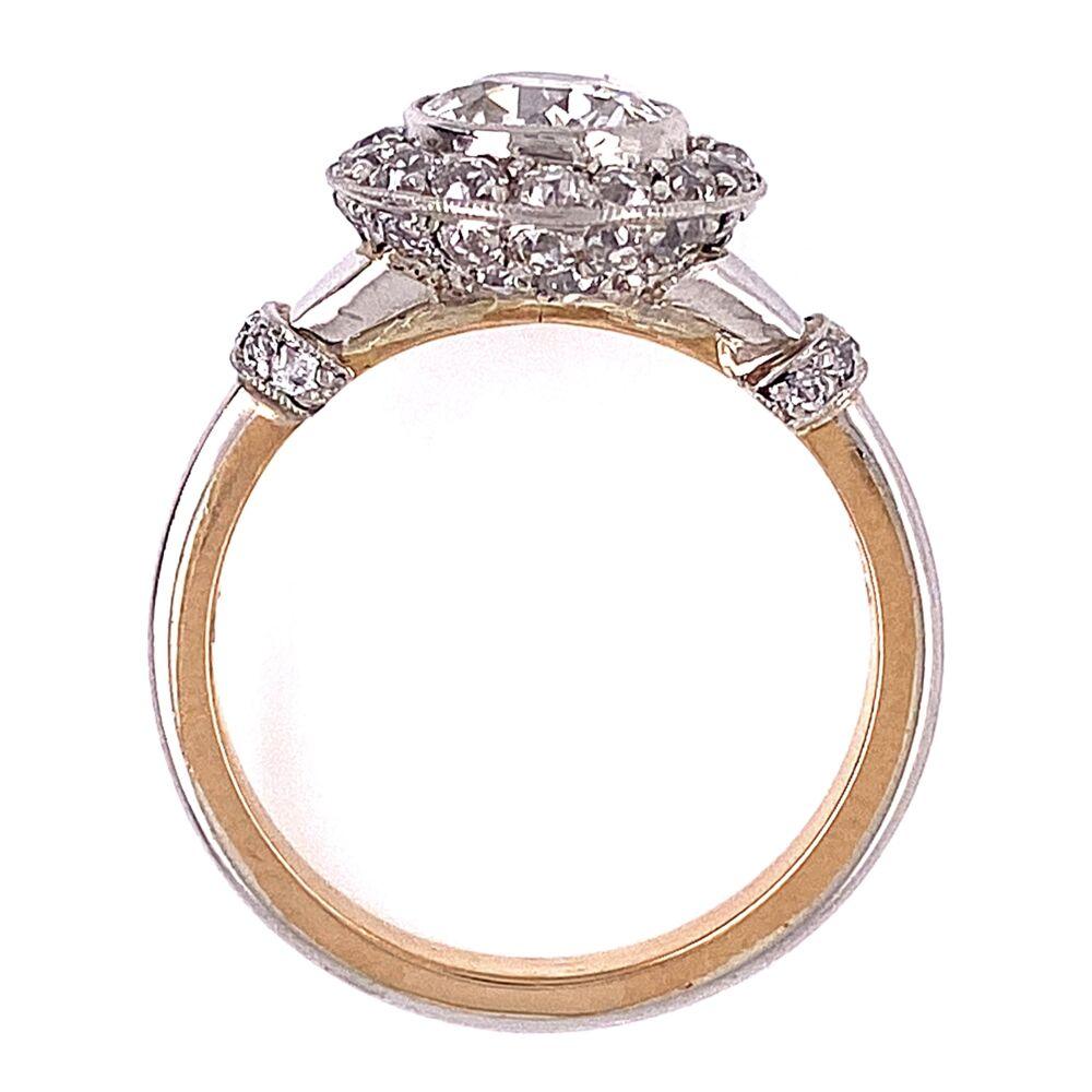 Image 2 for Platinum on 18K 1930's 1.02ct OEC & .40tcw Diamond Ring 6.2g, s6.75
