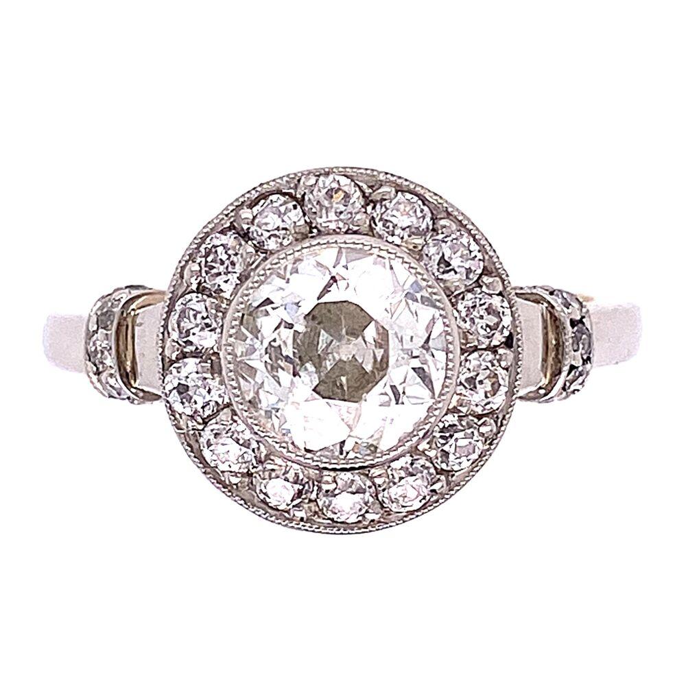 Platinum on 18K 1930's 1.02ct OEC & .40tcw Diamond Ring 6.2g, s6.75