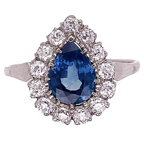 Closeup photo of Platinum 1ct Pear Sapphire with .52tcw Diamond Ring 3.6g, 6.25