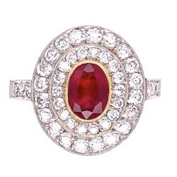 Closeup photo of Platinum .50ct Oval Ruby & Double Halo Diamond Ring 4.8g, s7