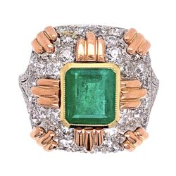 Closeup photo of Platinum & Gold Retro 2.20ct Emerald & 2.00tcw Diamond Ring 7.4g, s5.75