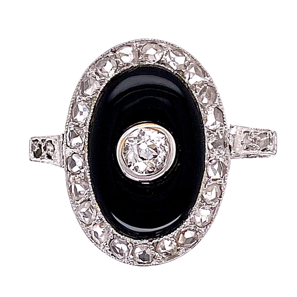 Platinum Art Deco Onyx & Diamond Ring 3.3g, s5.5