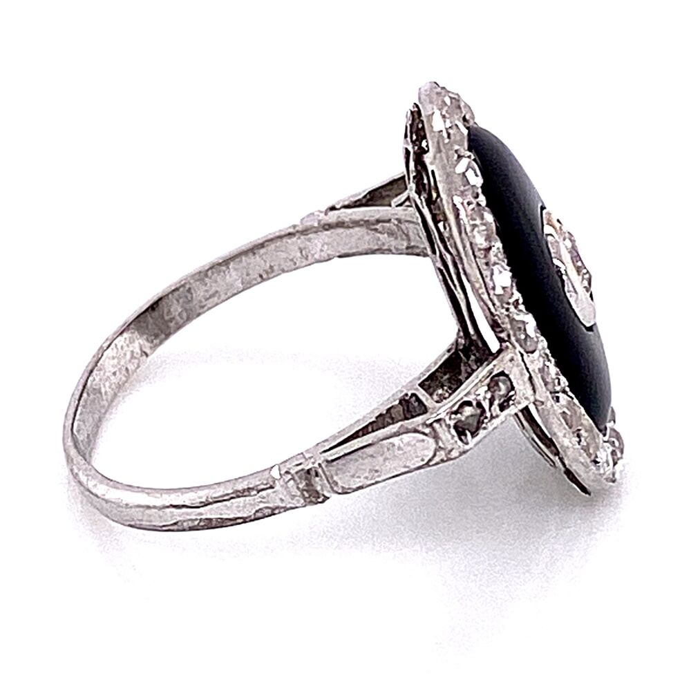 Image 2 for Platinum Art Deco Onyx & Diamond Ring 3.3g, s5.5