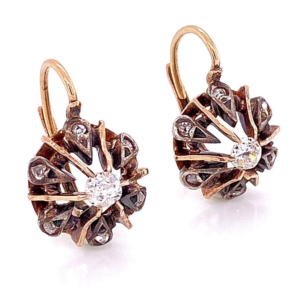 Image 2 for 18K & Sterling Victorian Diamond Drop Earrings .50tcw 4.25g