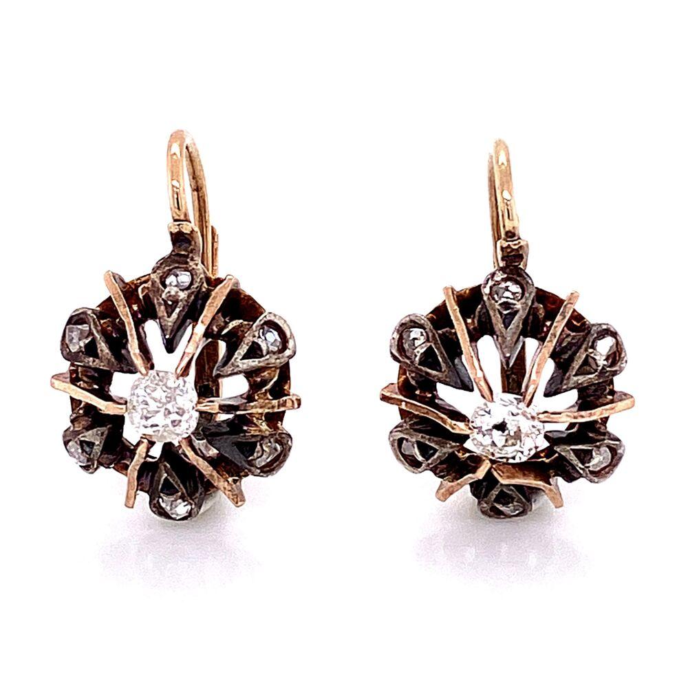 18K & Sterling Victorian Diamond Drop Earrings .50tcw 4.25g