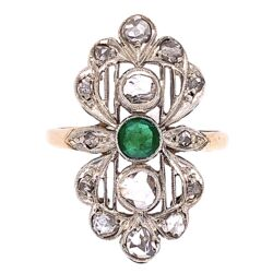 Closeup photo of 14K Victorian Rose Cut Diamond with Emerald Center Ring 4.0g, s7.25