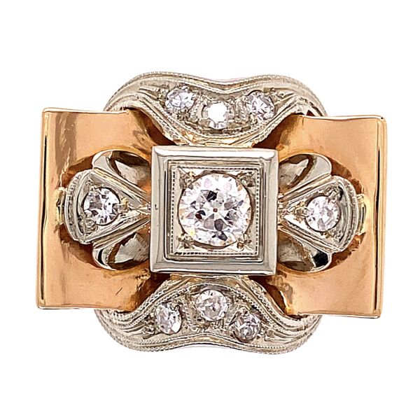 Closeup photo of 18K Rose Retro Ring with .68tcw Diamonds 7.6g, s8