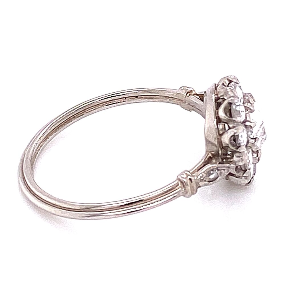 Image 2 for Platinum Rose Cut Diamond Halo Ring .65tcw 2.9g, s6.25