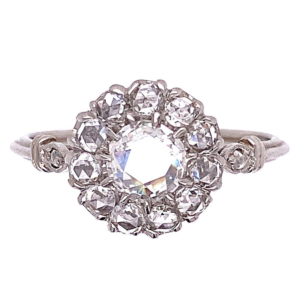 Platinum Rose Cut Diamond Halo Ring .65tcw 2.9g, s6.25
