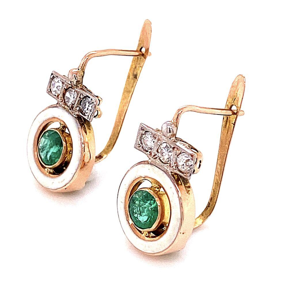 """Image 2 for 14K Victorian Emerald & White Enamel Earrings 2.5g, .75"""" Tall"""