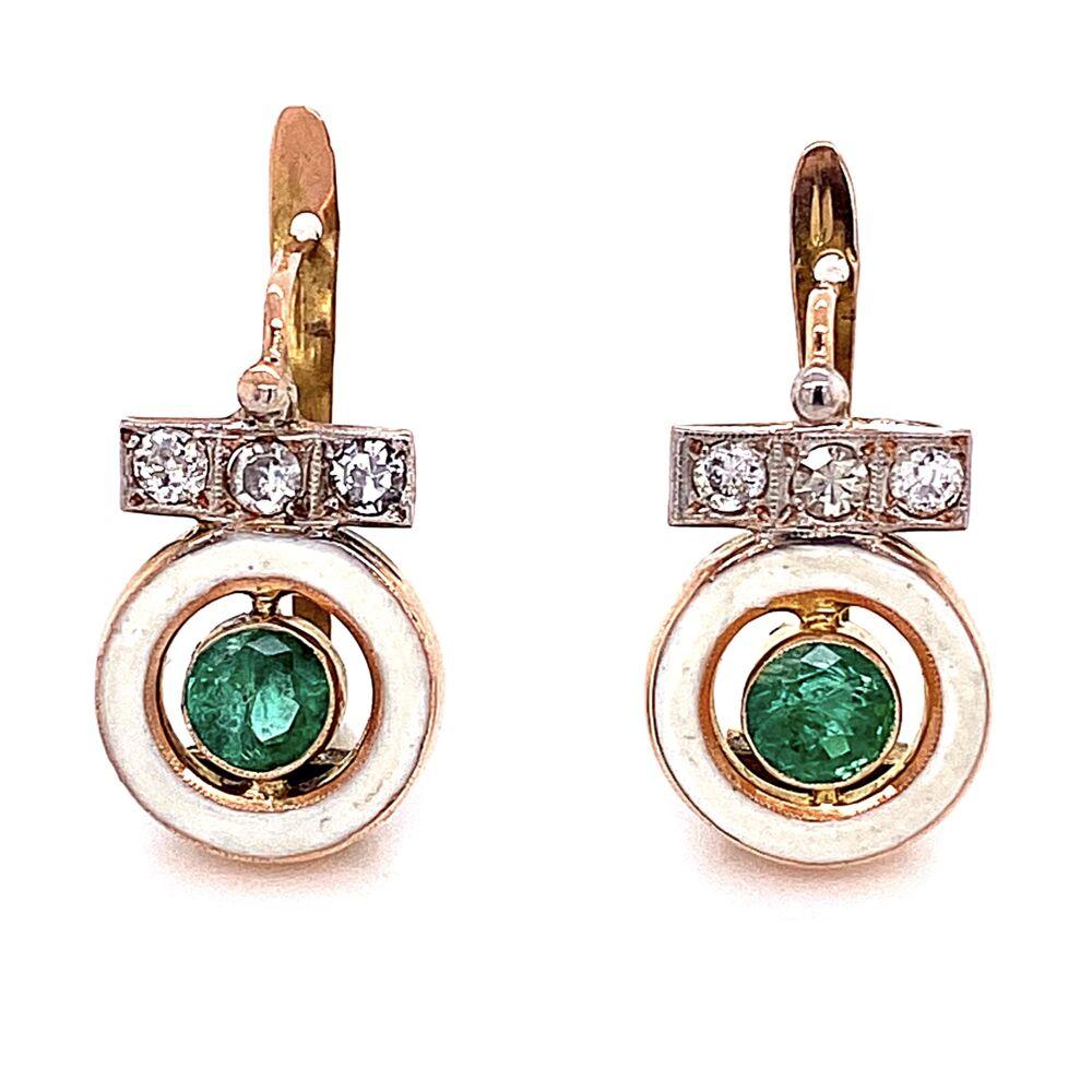 """14K Victorian Emerald & White Enamel Earrings 2.5g, .75"""" Tall"""