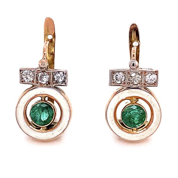 "Closeup photo of 14K Victorian Emerald & White Enamel Earrings 2.5g, .75"" Tall"