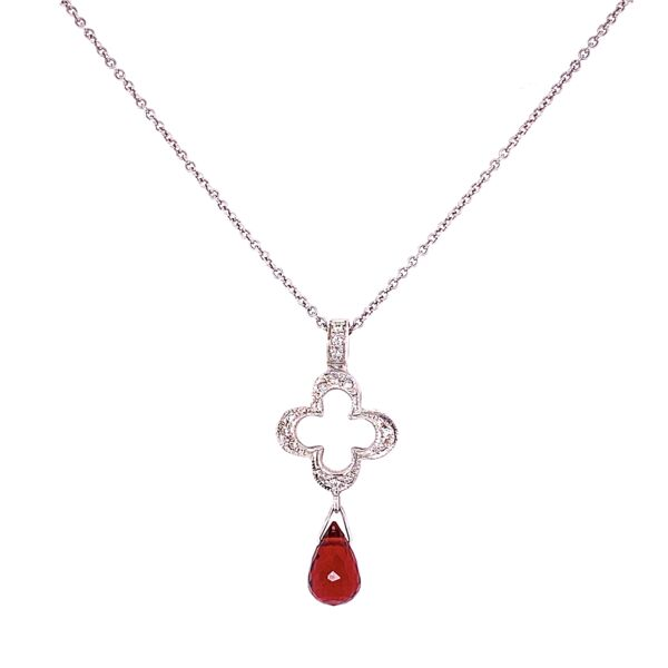 Closeup photo of 18K WG JUDEFRANCES Open Clover .09tcw Diamond Pendant with Garnet Briolette 2.9g, 16""