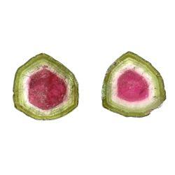 Closeup photo of Loose Watermelon Tourmaline Tablet Pair 19.85tcw 17mm diamter