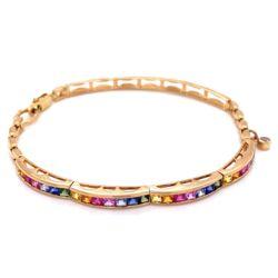 "Closeup photo of 14K YG Rainbow Sapphire Bracelet 1.40tcw 12.7g, 7.25"""