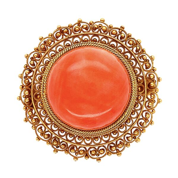 "Closeup photo of 14K YG Etruscan Italian Coral Brooch with Granulation 6.7g, 1.1"" Diameter"