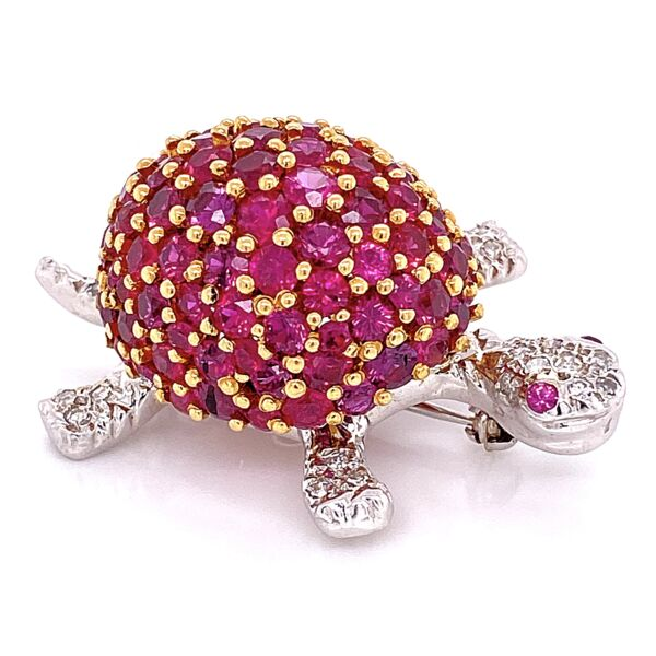 Closeup photo of 18K W/YG Turtle Brooch 5.00tcw Rubies & .20tcw Diamonds 16.4g, 1.5x1""
