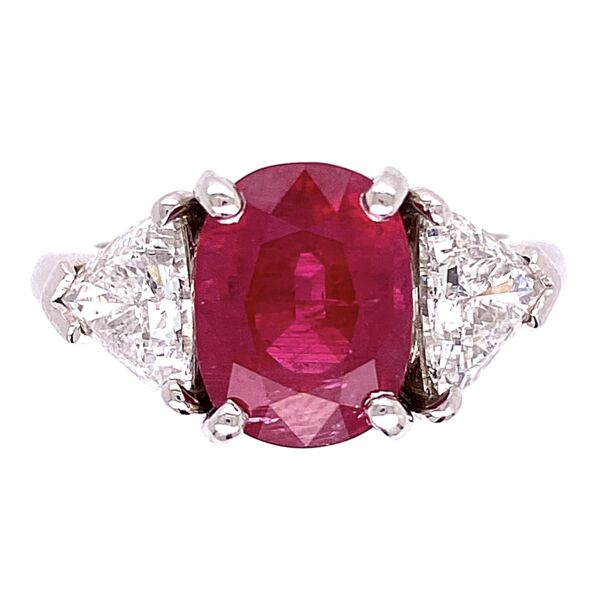 Closeup photo of Platinum 4.05ct AGL Oval Ruby & 1.5tcw Diamond Ring 9.6g, s6