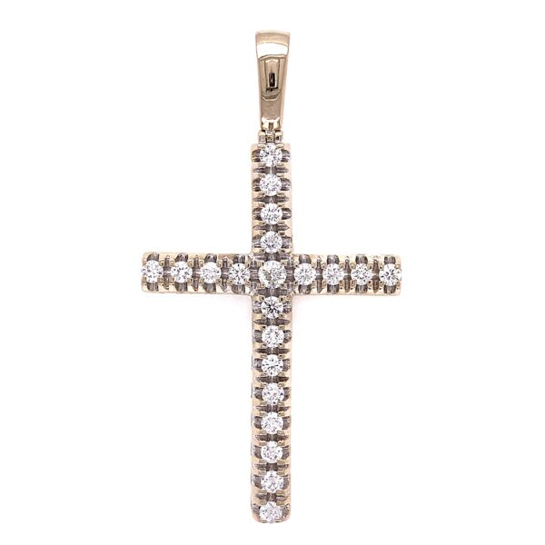 "Closeup photo of 14K WG 2.00tcw Diamond Cross Pendant 12.4g, 2.5"" Tall"