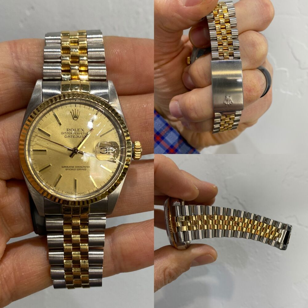 Image 2 for Mens 36mm ROLEX Date Just 2 tone Stainless 18K YG 16013