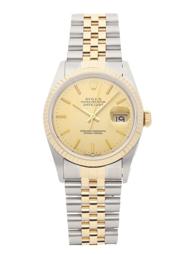 Mens 36mm ROLEX Date Just 2 tone Stainless 18K YG 16013