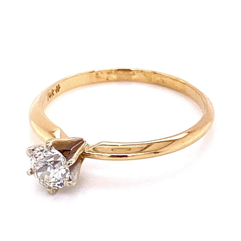 Image 2 for 14K YG Victorian Solitaire Diamond Ring, 1 OEC .45ct, 1.8g, s6.25