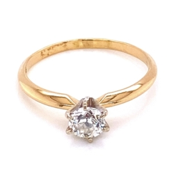 Closeup photo of 14K YG Victorian Solitaire Diamond Ring, 1 OEC .45ct, 1.8g, s6.25