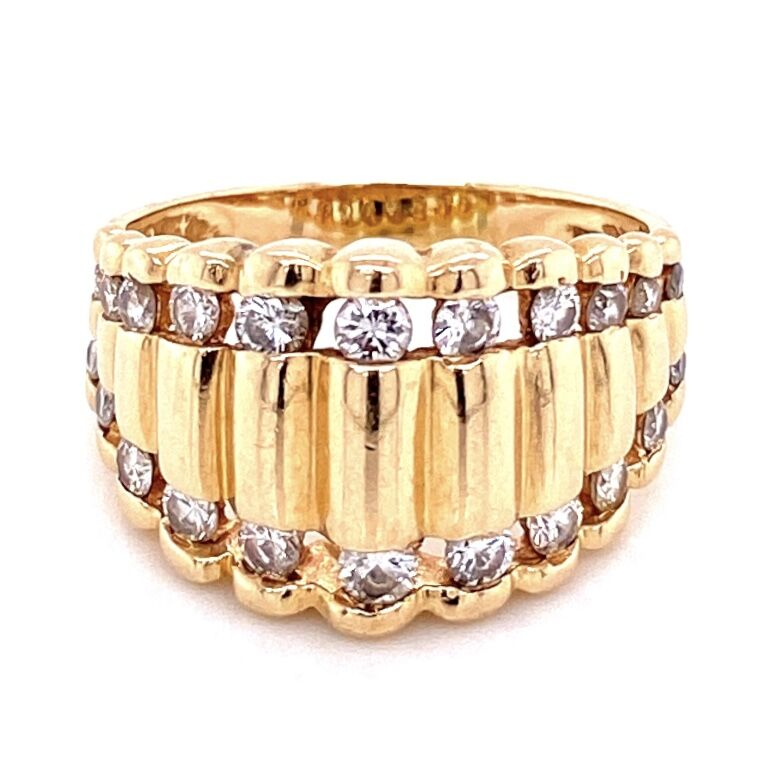 Image 2 for 14K YG 1960's Scalloped Band Ring 1.50tcw, 6.0g