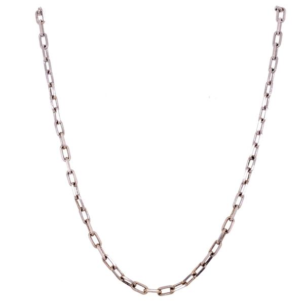 "Closeup photo of 14K WG Polished Link Chain 4.5g, 16"" Long"