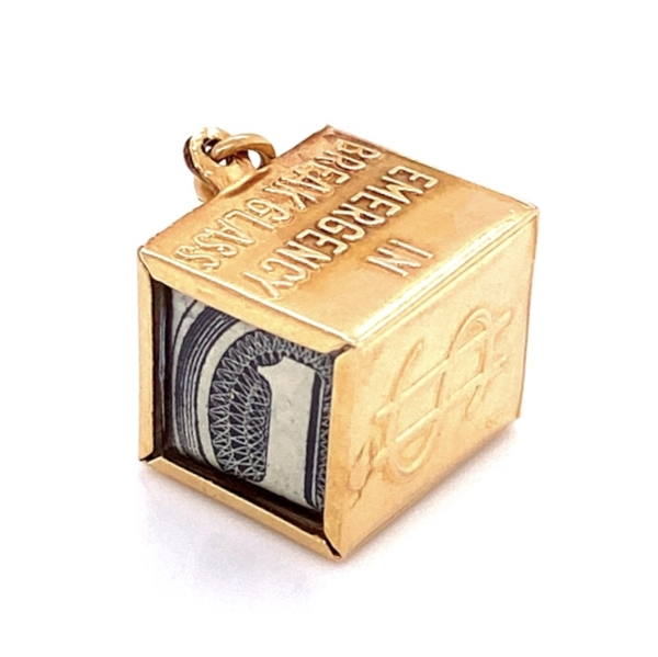 Closeup photo of 14K YG MAD MONEY $1 Charm 2.6g