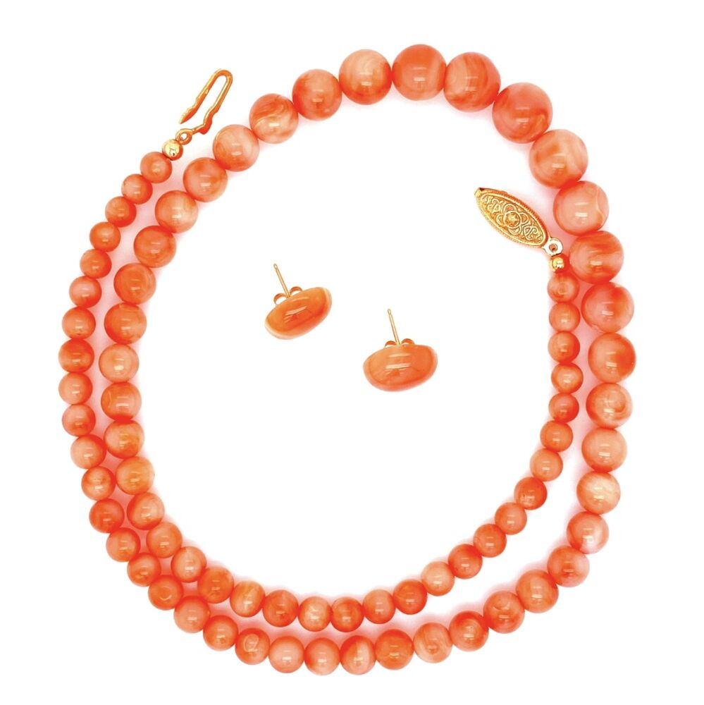 Coral Bead Necklace 9-4mm & Earring Set GF