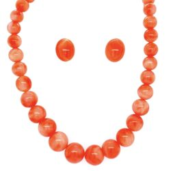 Closeup photo of Coral Bead Necklace 9-4mm & Earring Set GF