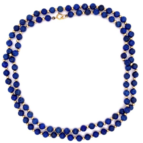"Closeup photo of 14K YG Lapis & Gold Bead Necklace 5.5mm 32"" Long"