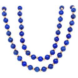 "Closeup photo of 14K YG Lapis & Gold Bead Necklace 5.5mm 32"" Long"