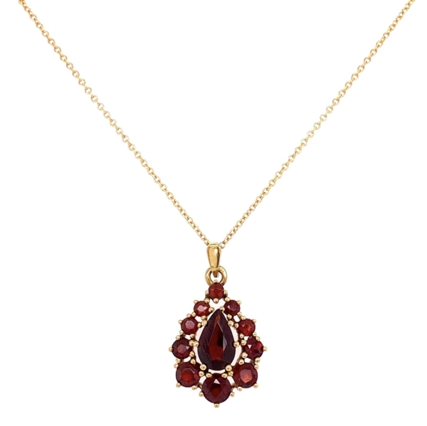 "Closeup photo of 14K YG Garnet Cluster Pendant Necklace Drop 3.2g, 18"" Chain"
