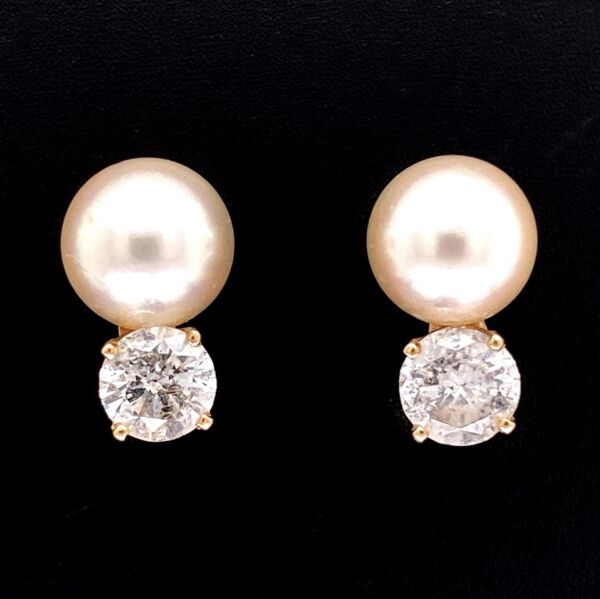 Closeup photo of 14K YG 8mm Pearl Studs with 1.20tcw Diamond Drops 2.9g,