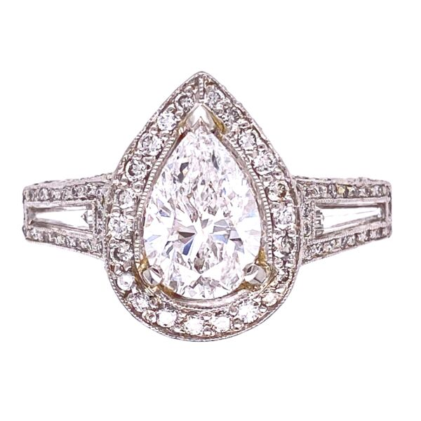 Closeup photo of Platinum 2.01ct Pear Diamond Ring with 1.25tcw side diamonds, s6.5