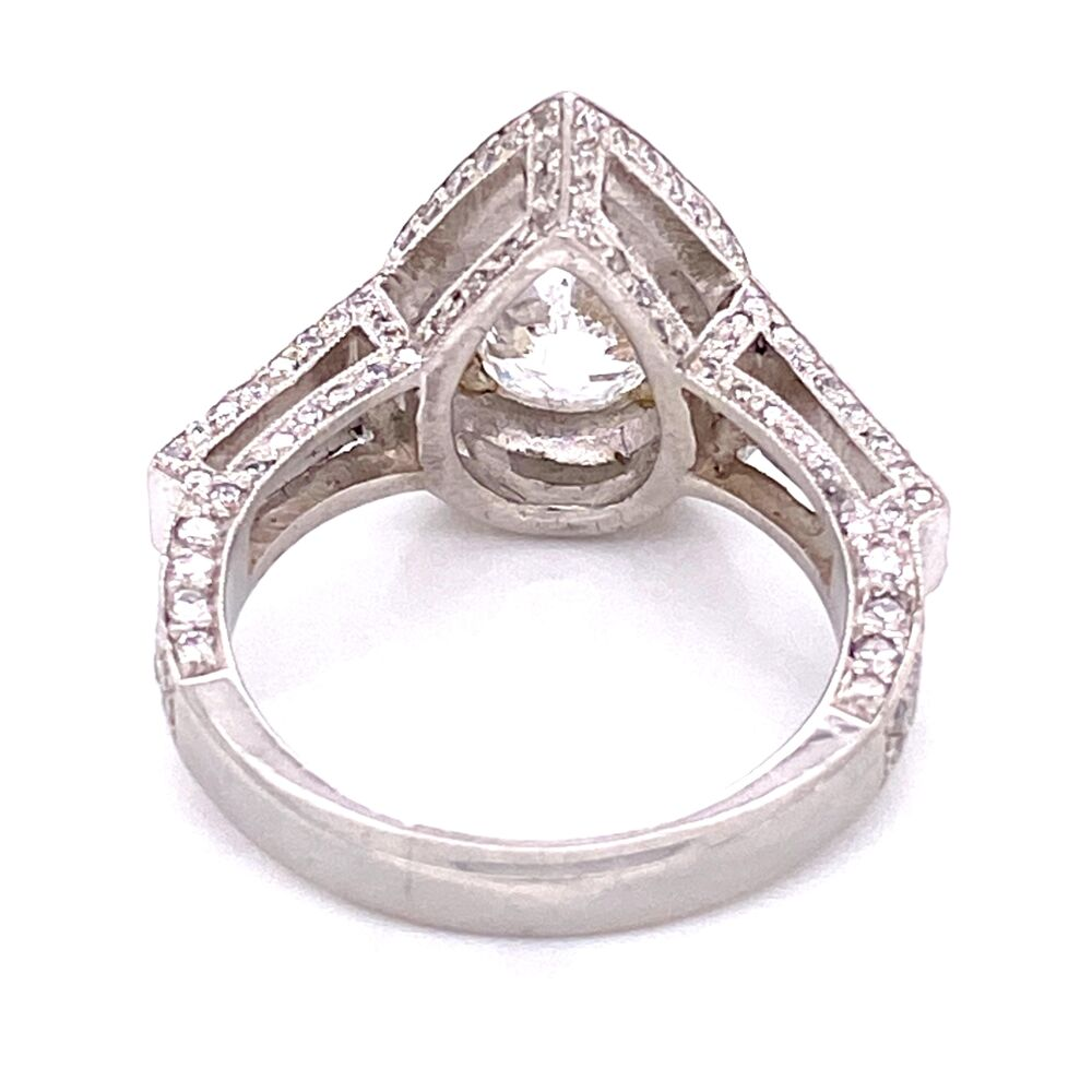 Image 2 for Platinum 2.01ct Pear Diamond Ring with 1.25tcw side diamonds, s6.5